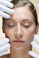 A woman having a collagen injection