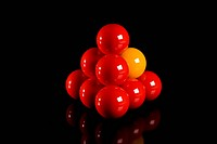 Snooker balls in a pyramid shape