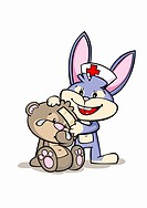 A cartoon rabbit nurse assisting an injured bear