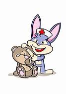 A cartoon rabbit nurse assisting an injured bear