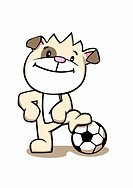 A cartoon dog standing with one foot resting on a football