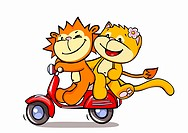 A lion and a cat riding on a scooter