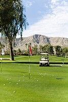 View across putting green, Palm Springs, California, USA