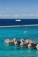 Tahiti, Moorea Island, Society Islands, Huts at Sofitel resort