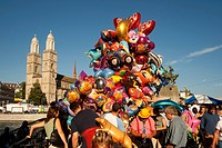Folk Festival, Züri Fäscht, balloons near Grossmunster Zurich, Switzerland