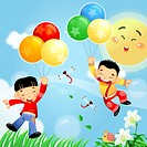 Boys flying with balloons