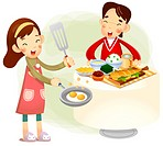 Boy and girl sitting at dinning table