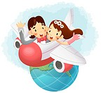 Boy and girl flying in airplane