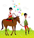 Senior couple horseback riding on grass