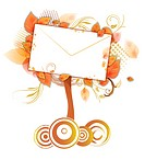 Envelope amid tree leaves