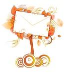 Envelope amid tree leaves