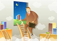 Side view of businessman climbing ladder