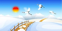 Birds flying on snowcapped land