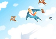 Low angle view of businessmen flying in sky