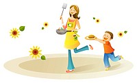 Mother and son running with food