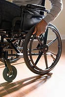Close up of a disabled man in a wheelchair