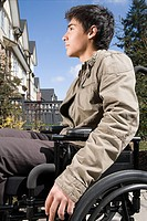 Profile of a disabled teenage boy