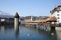 Kapellbrucke and river reuss lucerne