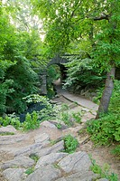 A path leading to Glen Span arch in Central Park, New York city, New York, United States of America