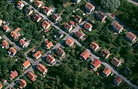 Houses arranged in lines aerial view