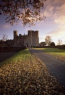 Kilkea Castle, Co Kildare, Ireland, Road leading to a 12th Century castle at sundown
