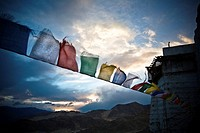 Ladakh, Kashmir, India, Prayer flags hang outside a monastery