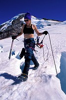 Woman mountaineering