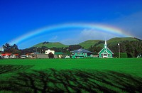 Rainbow over the village