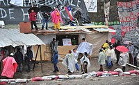 Santiago Chile June 19 2009 the leaders of Andha Chile National Association of Housing Debtors decided to resist eviction by the police special forces...