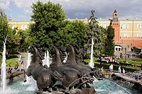 Fountain on Manege square, Alexander Garden and the fortification wall of the Kremlin, Moscow, Russia
