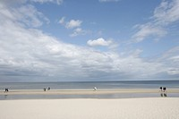People walking along beach, Heringsdorf, Usedom island, Mecklenburg_Western Pomerania, Germany