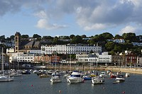 Town view over harbor, Torquay, Torbay, Devon, England, United Kingdom