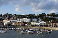 Town view over harbor, Torquay, Torbay, Devon, England, United Kingdom