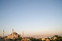 Panoramic view with Hagia Sophia in the evening light, Istanbul, Turkey, Europe