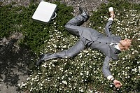 Young businessman sprawled out on ground