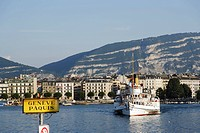 Excursion boat on Lake Geneva, Geneva, Canton of Geneva, Switzerland