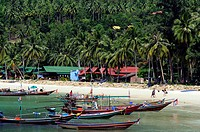 Boats in Chalok Lam Bay, North coast, Ko Phangan, Ko Pha Ngan, Thailand