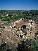 Aerial view of the ruins of Khan Gaaton in the western Galilee