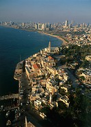 Aerial photograph of the old city of Jaffa and Tel Aviv´s coastline