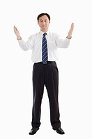 Businessman standing with arms outstretched, Business People