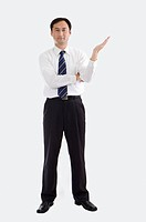 Businessman standing with one hand reaching out, Business People