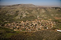 Aerial photograph of kibutz Dishon in the Upper Galilee