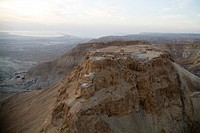 Aerial photograph of Masada at sunrise