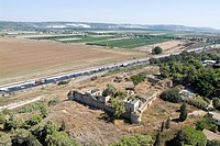 Aerial photograph of the ruins of Habonim's castle in the Sharon