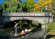 Punt on the Avon River approaching Worcester Street bridge Christchurch New Zealand