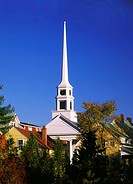 Church in changing light, Stowe, Vermont, USA