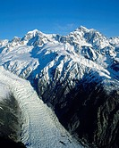 Aerial view of Mounts Tasman and Cook Aoraki towering over Fox Glacier New Zealand