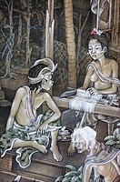 A painting of a Balinese girl working a hand loom while a Balinese boy watches her