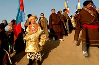 Khampa and Amdo knight parade, Gerdeng Tibetan Monastery in Aba, Sichuan, China