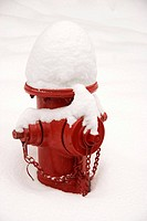 red fire hydrant covered in snow in Colorado
